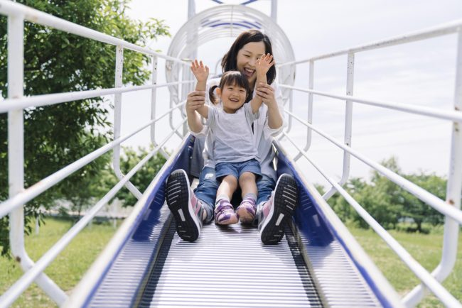 A Japanese family enjoying a day at the park