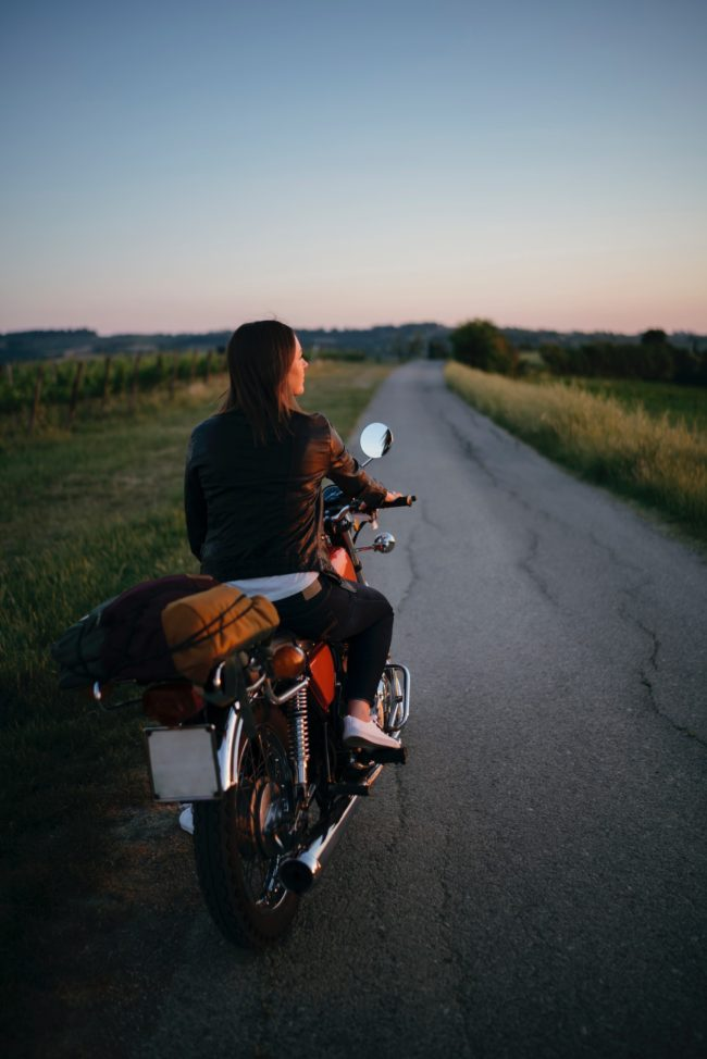 Bikers couple in Tuscany